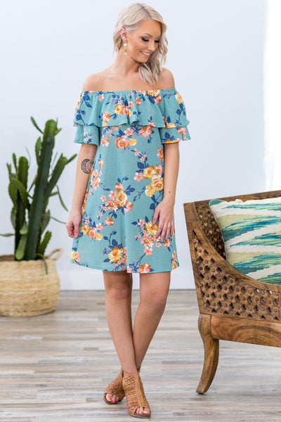Always There Off Shoulder Floral Ruffle Dress in Sage - Filly Flair