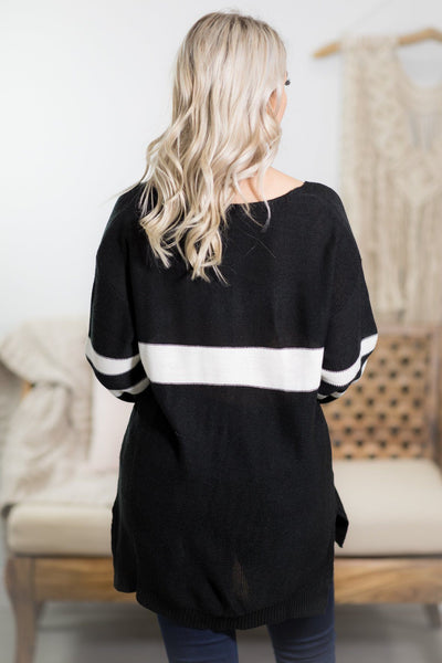 Varsity Sweater in Black - Filly Flair