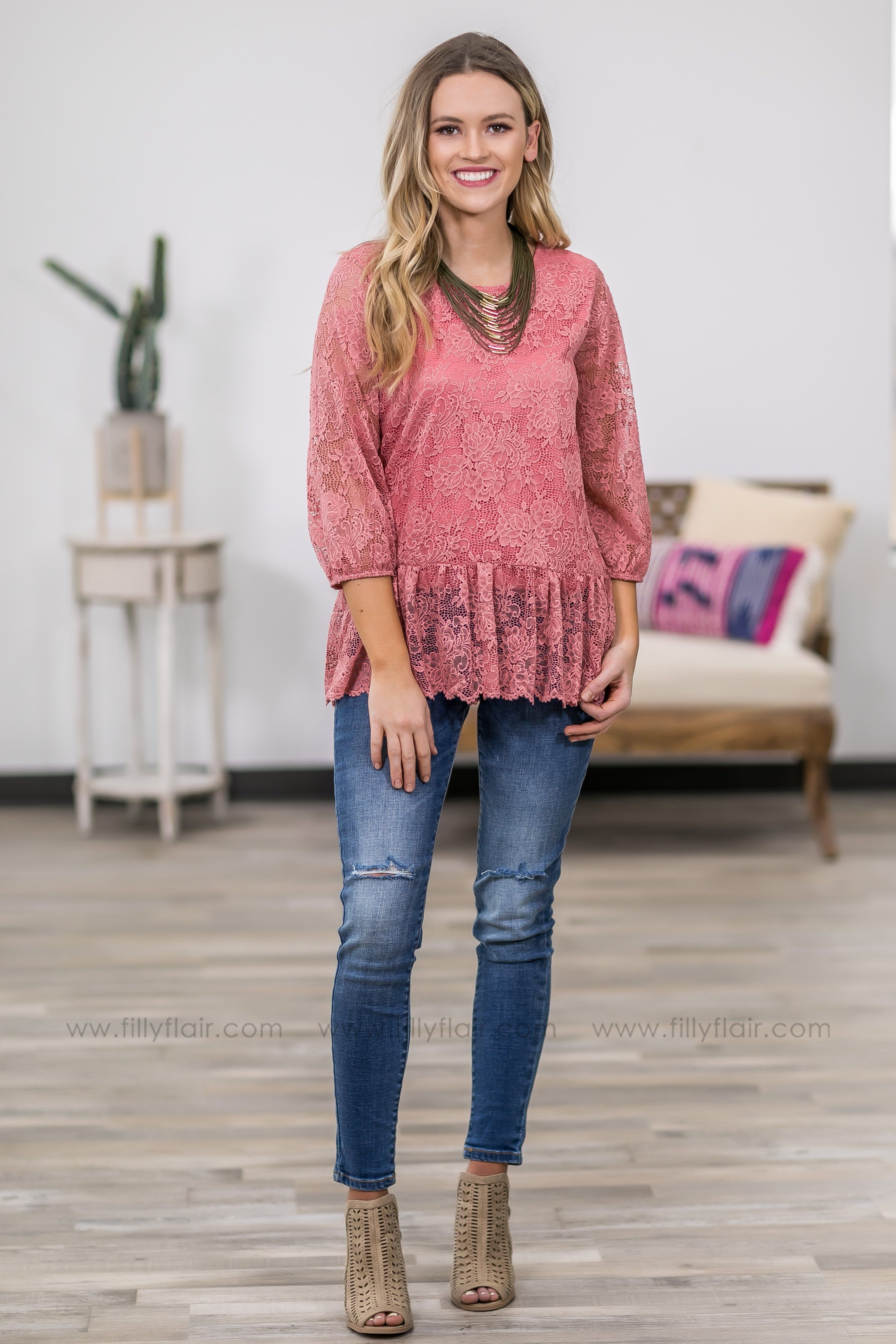 The Way I Am 3/4 Sleeve Floral Lace Ruffle Hem Top in Mauve - Filly Flair