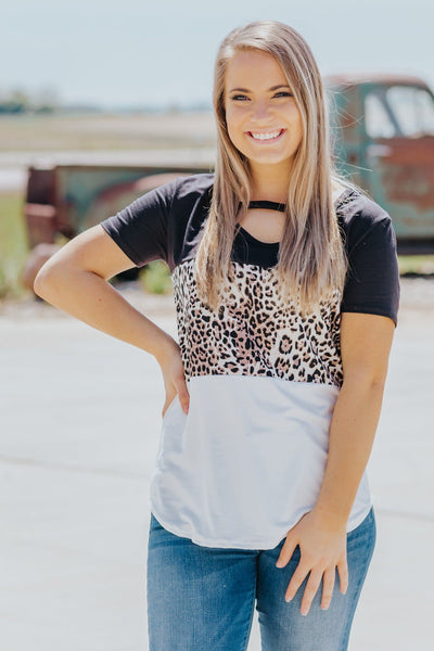 Adventure Life Color Block Leopard Short Sleeve Top in Black White - Filly Flair