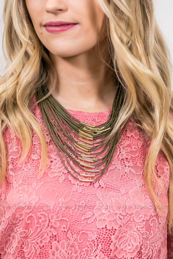 Look At Me Multi Layered Gold Bar Necklace in Olive - Filly Flair