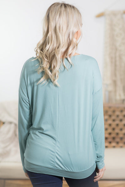 Let Me Adore You Front Twist Long Sleeve Top in Sage - Filly Flair