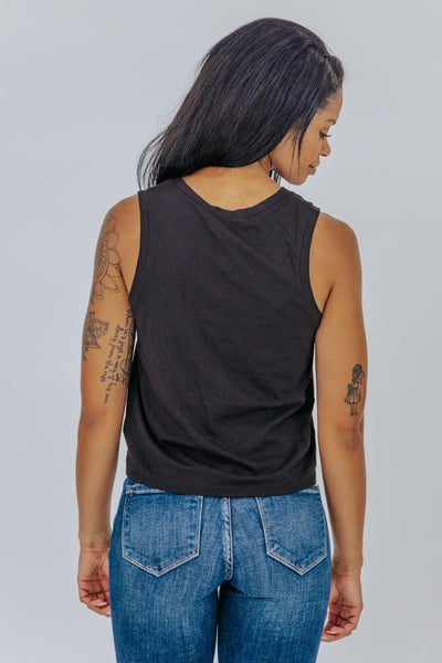 Watch Out V Neck Front Knot Sleeveless Tank in Black - Filly Flair