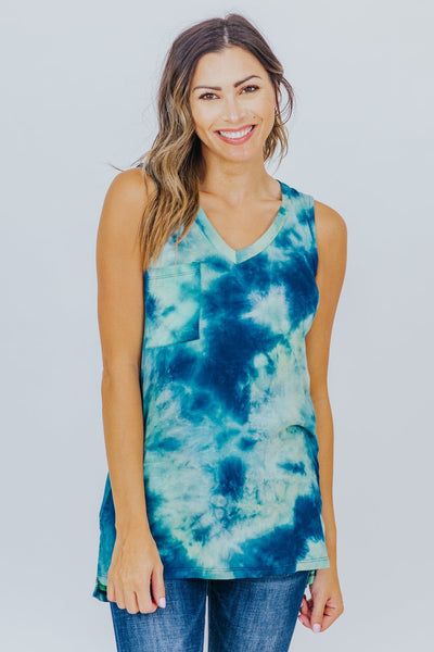 Love Like There's No Tomorrow Tie Dyed Tank In Mint - Filly Flair