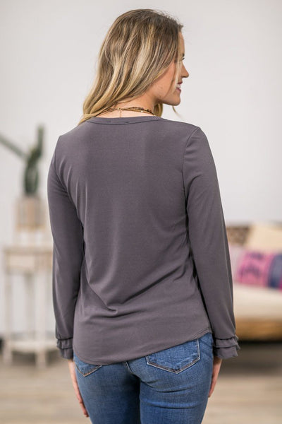 This Year's Love Long Ruffle Sleeve Top in Grey - Filly Flair