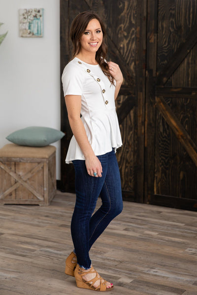 Take My Time Short Sleeve Button Detail Peplum Top (Two Colors) - Filly Flair