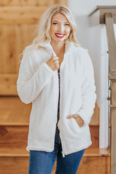 Fireplace Memories Faux Fur Zip Up Jacket in Ivory - Filly Flair
