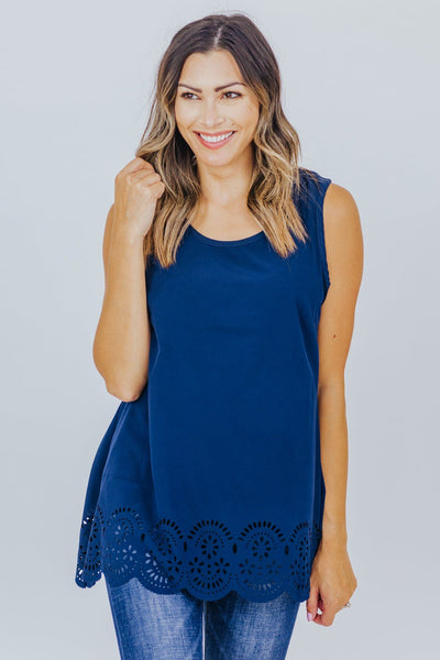 Wouldn't Change It Round Neck Cut Out Detail Tank Top in Navy - Filly Flair