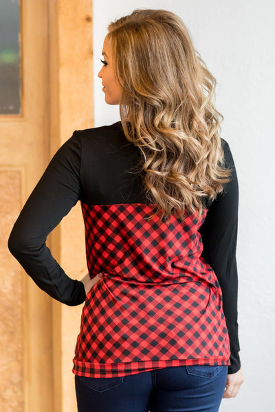 Count Your Blessings Buffalo Plaid Long Sleeve Top in Red - Filly Flair