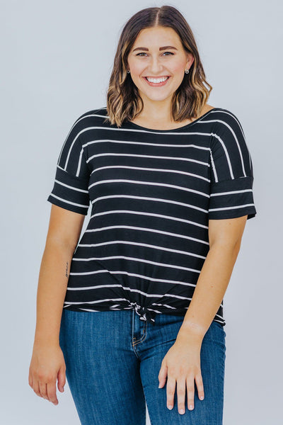 A Good Day To Be Happy Striped Tee In Black - Filly Flair