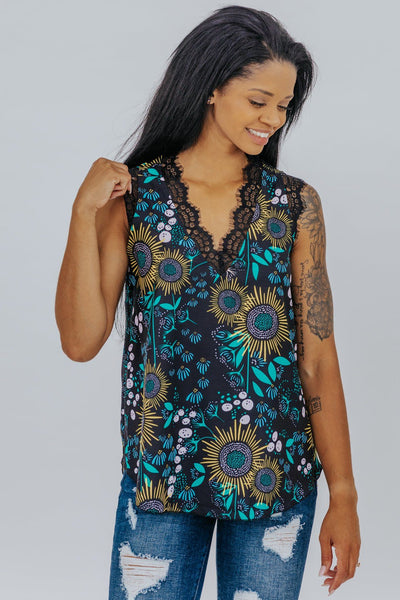 In The Long Run Floral and Lace V-Neck Sleeveless Tank in Black - Filly Flair