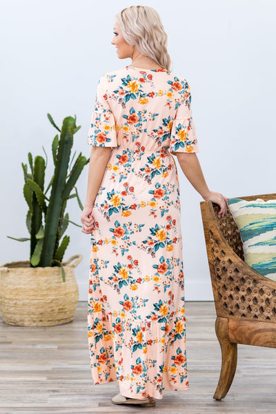 Daydream Beauty Short Sleeve Floral Maxi Dress in Blush - Filly Flair