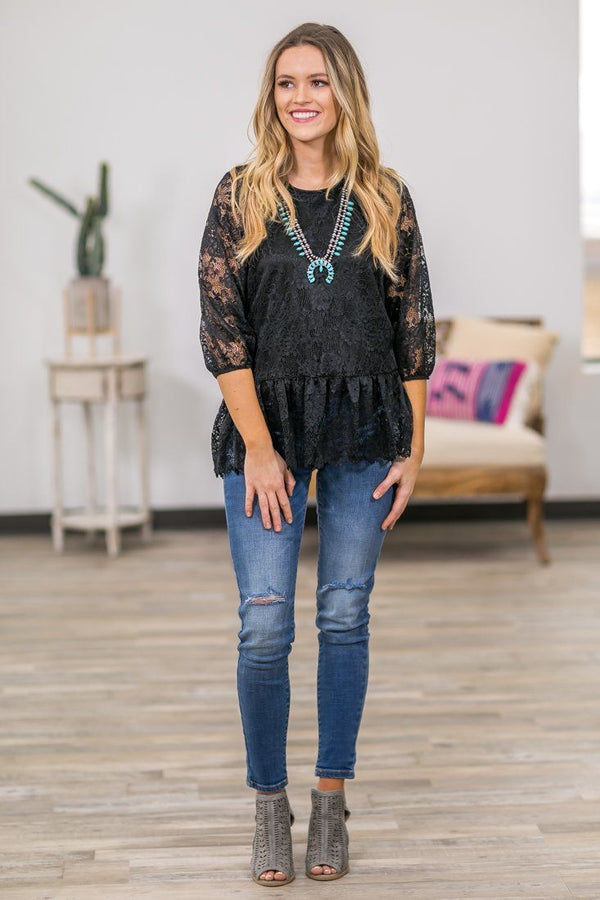 The Way I Am 3/4 Sleeve Floral Lace Ruffle Hem Top in Black - Filly Flair