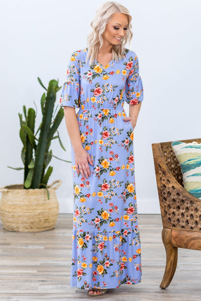 Daydream Beauty Short Sleeve Floral Maxi Dress in Periwinkle - Filly Flair