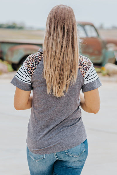 Complicated Love Stripes Leopard Short Sleeve Top in Charcoal - Filly Flair