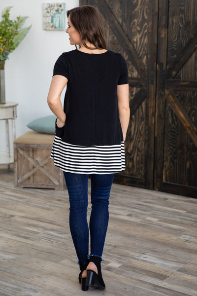 Until Now Short Sleeve Striped Hem Pocket Tunic Black - Filly Flair