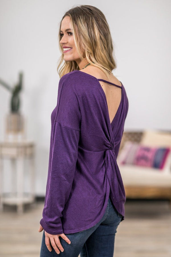 Get to You Long Sleeve Twist Back Top in Eggplant - Filly Flair