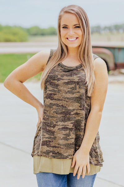 Taking It All Back Camo Layered Tank Top in Olive - Filly Flair