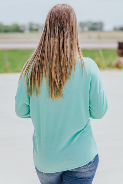 What's Left In Me Waffle Dolman Long Sleeve Top in Mint - Filly Flair