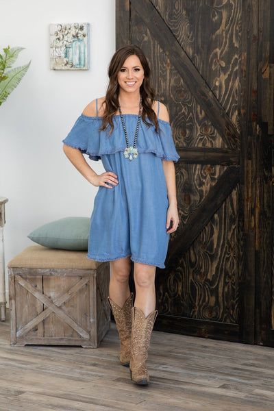 Light Them Up Off The Shoulder Fringe Denim Dress - Filly Flair