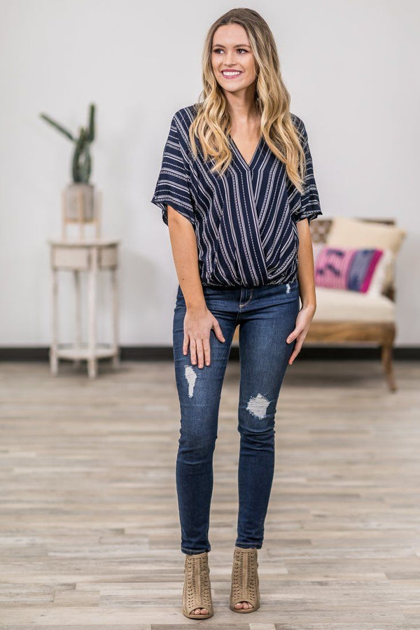 At The Top Short Sleeve Striped Dolman Top in Navy - Filly Flair