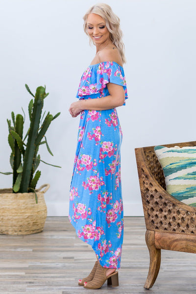 Spring Blues Pink Floral Off The Shoulder Dress in Blue - Filly Flair