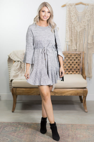 Part Of The Plan Ruffle Detail 3/4 Sleeve Dress in Heather Grey - Filly Flair