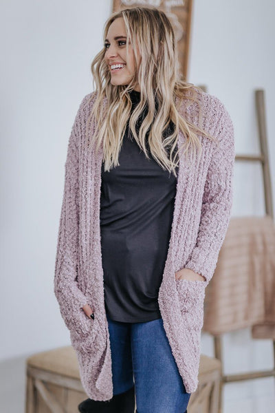 Fresh Start Cardigan in Dusty Lilac - Filly Flair