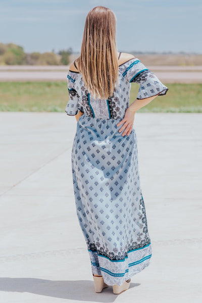 Dance Freely Spaghetti Strap Printed Detail Maxi Romper - Filly Flair