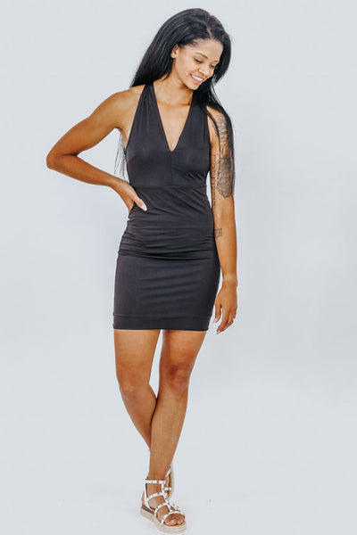 Dance All Night Open Back Cross Strap Mini Dress in Black - Filly Flair