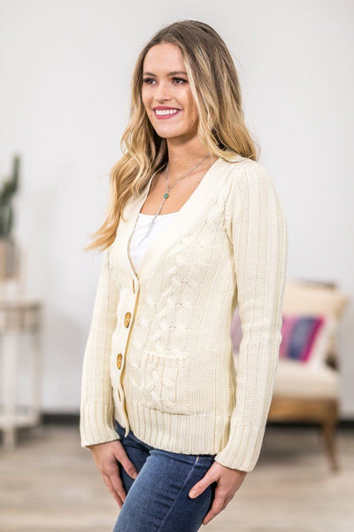 You Belong Here Long Sleeve Cable Knit Button Up Sweater in Ivory - Filly Flair