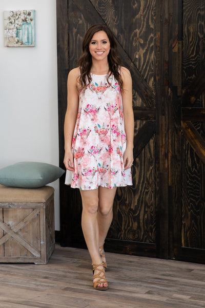 Back Seat Driver Floral Cow Skull Dress in Pink White - Filly Flair