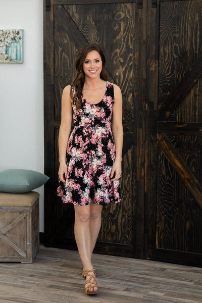 Just To See You Sleeveless Floral Dress in Black - Filly Flair