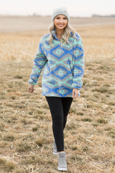 Filly Flair: Taking First Dibs Aztec 1/4 Zip Up in Mint - Filly Flair