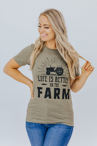 """Life Is Better On The Farm"" Graphic Tee In Heather Olive - Filly Flair"