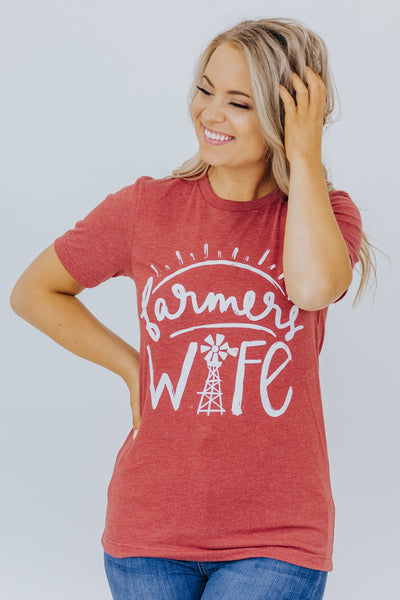 """Farmers Wife"" Graphic Tee In Heather Clay - Filly Flair"