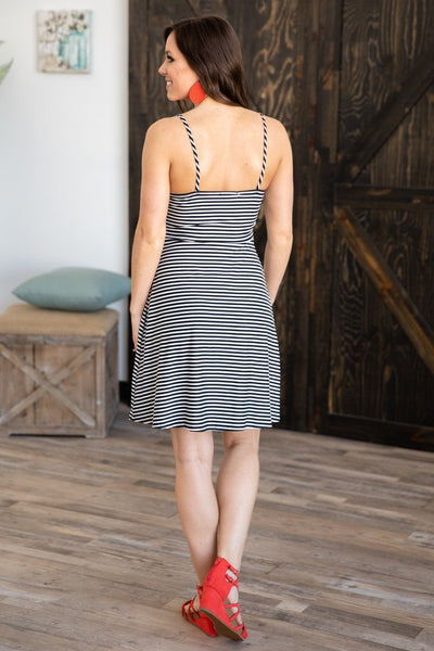 I Choose You Striped Button Detail Dress in Black White - Filly Flair