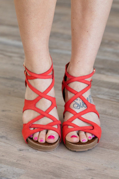 Find Your Way Marquis Wedge Strap Sandal in Coral - Filly Flair