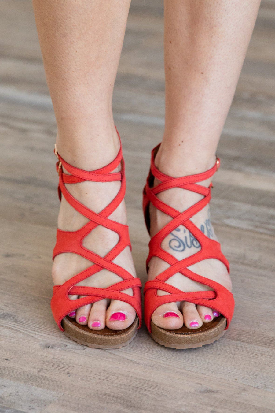 74a6291a86cc Find Your Way Marquis Wedge Strap Sandal in Coral