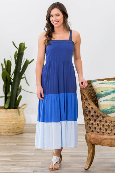Making Up Your Mind Color Block Midi Dress in Blue - Filly Flair