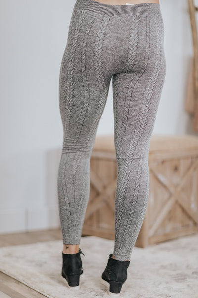 Advance The Outcome Cable Knit Spandex Leggings in Heathered Grey - Filly Flair