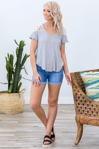 In Common With You Short Sleeve White Lace Detail Waffle Top in Grey - Filly Flair