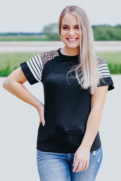 Complicated Love Stripes Leopard Short Sleeve Top in Black - Filly Flair