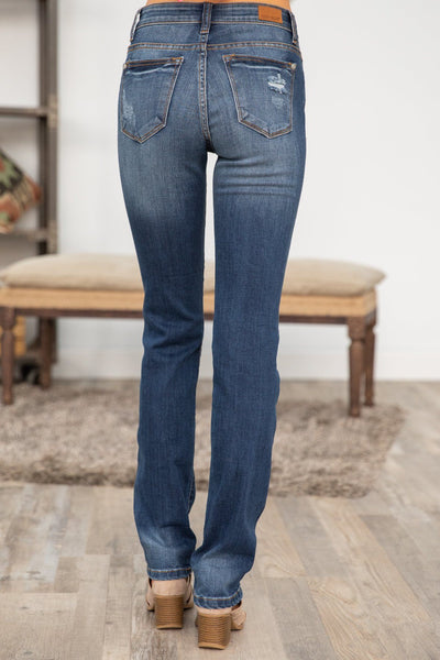 Joshua Judy Blue Dark Wash Straight Leg Cuffed Jeans - Filly Flair