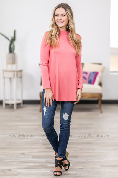For The First Time Long Sleeve High Neck Side Slit Tunic in Coral - Filly Flair