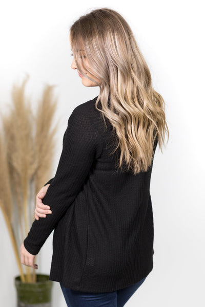 Make Your Mark Open Front Long Sleeve Cardigan in Black - Filly Flair
