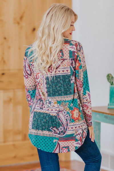 Traditional Feeling Paisley Printed Long Sleeve Baby Doll Top in Teal - Filly Flair