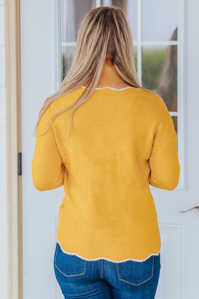 I Still Believe V-Neck Long Sleeve Top in Yellow - Filly Flair