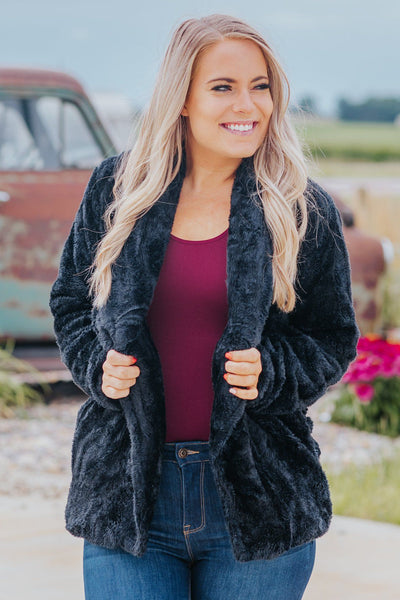 Let's Be Real Open Front With Pocket Sherpa in Black - Filly Flair
