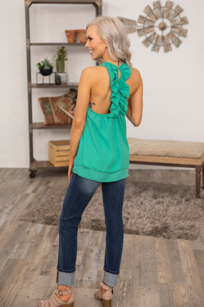 Be Ready Ruffle Back Tank Top in Jade - Filly Flair